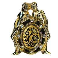 Damascene Gold Gemini the Twins Zodiac Tie Tack / Pin by Midas of Toledo Spain style 5315